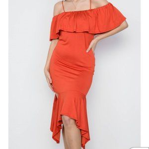 Love In Rust Cami flounce cut out dress
